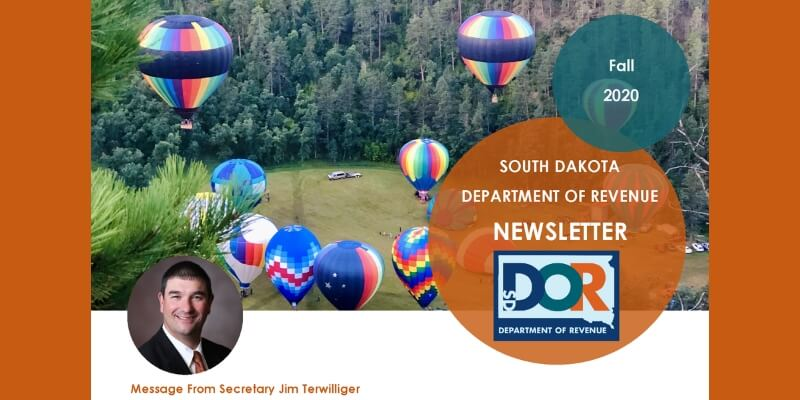 front page of fall 2020 newsletter with message from South Dakota Department of Revenue Secretary Jim Terwilliger