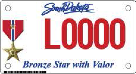 Bronze Star with Valor Motorcycle Plate